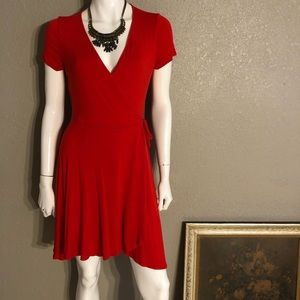 SOPRANO Stretch Knit Red faux wrap flirty Dress